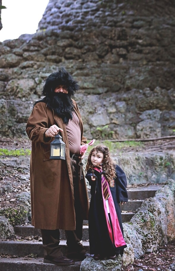 A girl and her daddy, Hermoine Granger and Hagrid